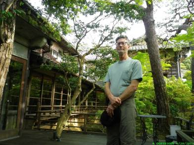 Bri in courtyard of 375 year old onsen (hotspring bath).